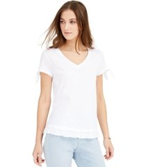 style & co petite tie-cuff ruffled top, created for macy's