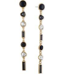 rachel rachel roy gold-tone crystal & heart stone linear drop earrings