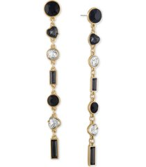rachel rachel roy gold-tone crystal & heart stone linear drop earrings