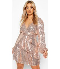 plus skater jurk met laag decolleté, franjeszoom en pailletten, rose gold
