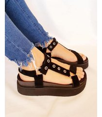 sandalia negra vita shoes cook