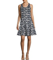 sleeveless floral fit-&-flare dress