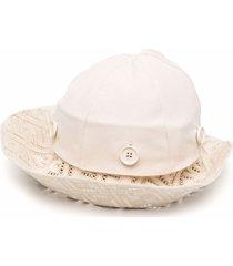 fendi ff-logo wide-brimmed hat - neutrals