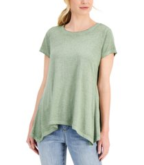 style & co burnout handkerchief-hem t-shirt, created for macy's