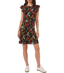 cece garden floral flutter sleeve stretch crepe dress, size x-large in rich black at nordstrom
