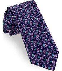 men's ted baker london floral silk tie, size regular - blue