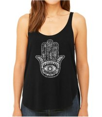 la pop art women's premium word art flowy tank top- hamsa