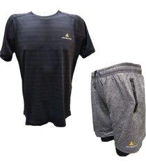 conjunto mezgo remera dry fit short con calza y bolsillos