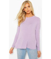 maternity ribbed split side sweater, lilac