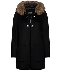 coats woven wollen jas lange jas zwart esprit collection