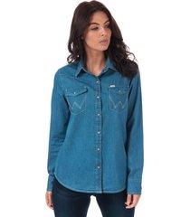 wrangler womens denim western shirt size 12-14 in purple