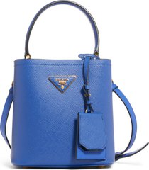 prada small saffiano leather bucket bag - blue
