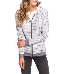 women's roxy trippin stripes zip hoodie, size x-small - blue
