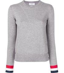 thom browne grosgrain-cuffed fine merino wool crew neck pullover -