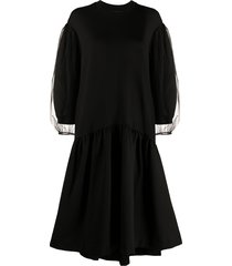 simone rocha puffed sleeves flared dress - black