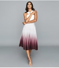 reiss marlie - ombre pleated midi skirt in silver, womens, size 12