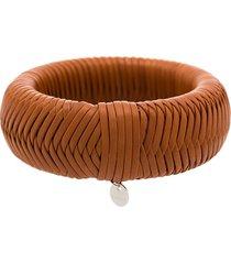 jil sander intertwined leather bracelet - brown