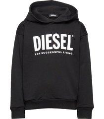 sdivision-logo over sweat-shirt hoodie trui zwart diesel