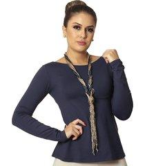 blusa ficalinda manga longa azul marinho decote canoa evasê