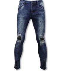 skinny jeans true rise biker jeans - slim fit damaged knee h paint drops -