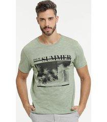 camiseta masculina flamê estampa frontal manga curta