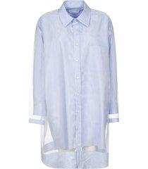 maison margiela lace detail oversized shirt dress