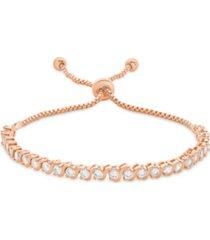 "cubic zirconia ""s"" link bolo adjustable bracelet in rose gold plate"