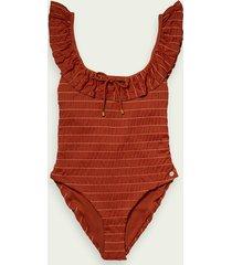 scotch & soda striped recycled nylon-blend swimsuit