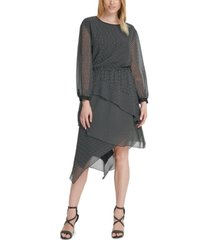 dkny chiffon asymmetrical-tier dress