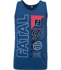 camiseta regata fatal estampada 25677 - masculina - azul escuro