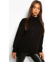 grof gebreide trui met oneven zoom, zwart