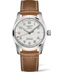 men's longines spirit automatic leather strap watch, 40mm