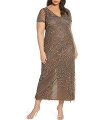 plus size women's pisarro nights beaded mesh gown