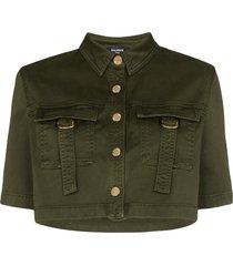 balmain military-look cropped shirt - green