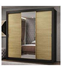 guarda-roupa casal madesa lyon 3 portas de correr com espelho 2 gavetas preto/carvalho preto