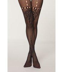 calzedonia eco q-nova indian mesh tights woman black size 1/2