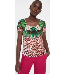 multicolour animal print t-shirt - material finishes - xl