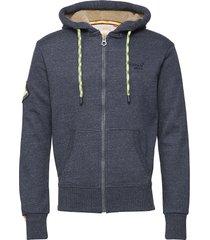 orange label mountain ziphood hoodie trui blauw superdry