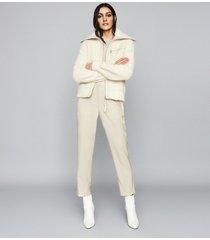 reiss gina - boucle zip through cardigan in cream, womens, size xl