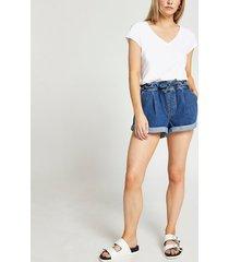 river island womens petite blue belted high rise mom denim shorts