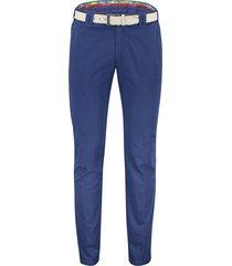 meyer oslo pantalon flatfront blauw riem katoen