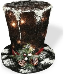 """national tree 10"""" black sisal hat with 10 clear lights"""