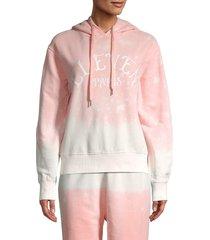 eleven paris women's logo cotton hoodie - pink multi - size m