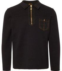 gabicci black beuren knitted zip polo shirt v39gm27