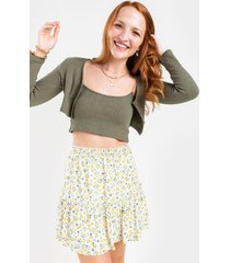 women's seleste ribbed cropped cardigan in olive by francesca's - size: l