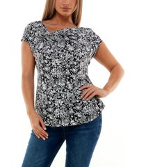 women's extended shoulder top with buckle hardware