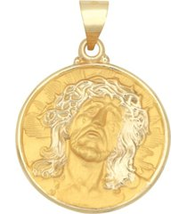 christ head medal pendant in 14k yellow gold