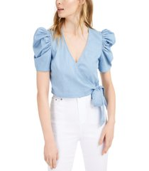 bar iii chambray puffed-sleeve wrap top, created for macy's