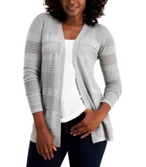 karen scott petite horizontal pointelle cardigan sweater, created for macy's