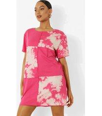 colour block t-shirtjurk met naaddetail, hot pink
